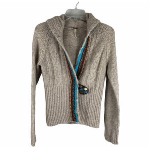 Free People One Button Aztec Tribal Cardigan